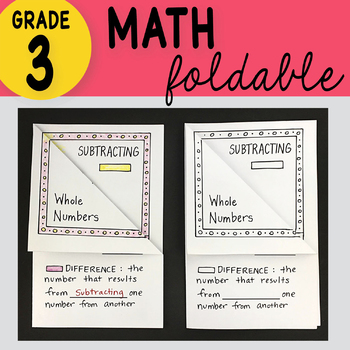 Subtracting Whole Numbers Foldable Math Doodles 3rd Grade TEKS 3.4A/CC 3.NBT.A.2