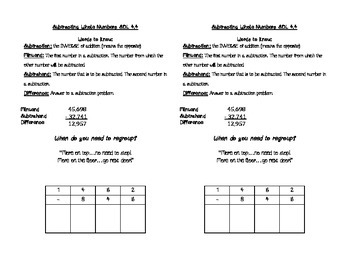 Subtracting Whole Numbers Math Journal Notes