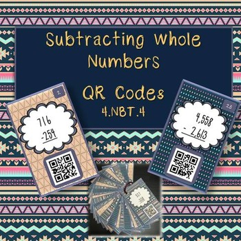 Subtracting Whole Numbers QR Task Cards