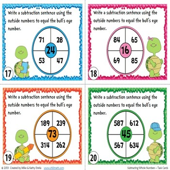 Subtracting Whole Numbers Task Cards