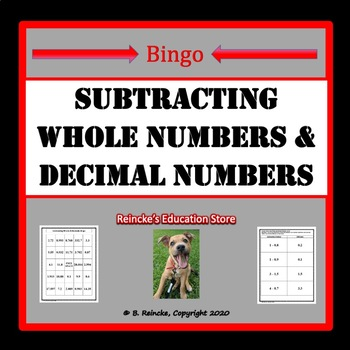 Subtracting Whole and Decimal Numbers Bingo (30 pre-made cards!)
