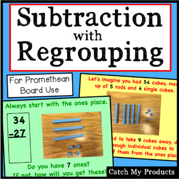 Subtracting With Regrouping (2 digits) Explained for the Promethean Board