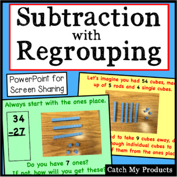 Subtracting With Regrouping (2 Digits) Explained in Power Point