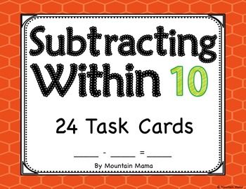 Subtracting Within 10 Task Card Activities for Kindergarten or First Grade Math