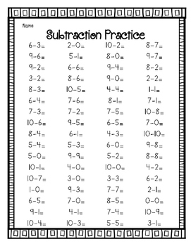 Subtracting Within 10 Worksheets