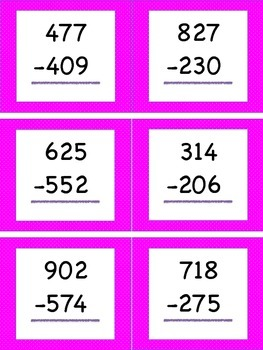Subtracting Within 1,000 (Regrouping) Task Cards