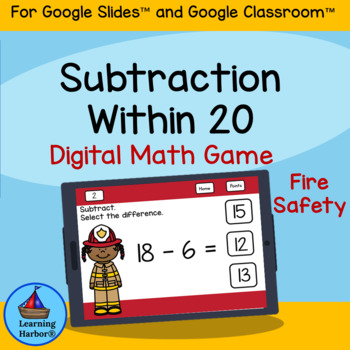 Subtracting Within 20 1st Grade  Firefighters theme for Google Classroom™
