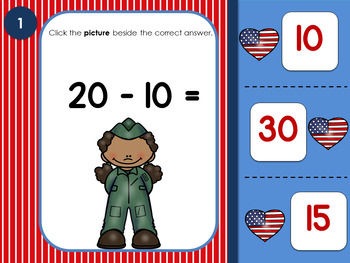 Subtracting Within 20 Memorial Day Self -Correcting Interactive Game