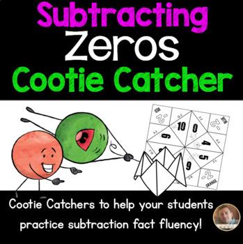 Subtracting Zeros Cootie Catcher/Fortune Teller- Perfect for Fact Fluency