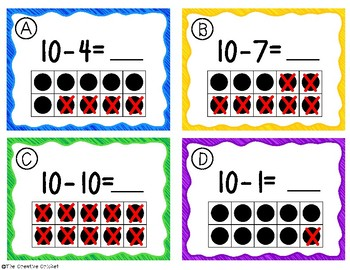 Subtracting a Number from 10 Task Cards/Scoot