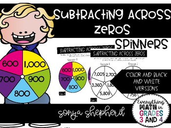 Subtracting across Zeros Spinners and Gameboard