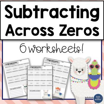 subtraction across zeros worksheet teaching resources  teachers pay  subtracting across zeros worksheets subtracting across zeros worksheets