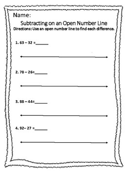 Subtracting by 10's and 1's on an Open Number Line within 100.