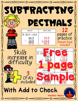 Subtracting decimals free sample