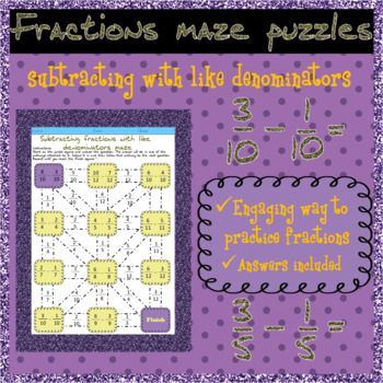 Subtracting fractions with like denominators maze puzzles