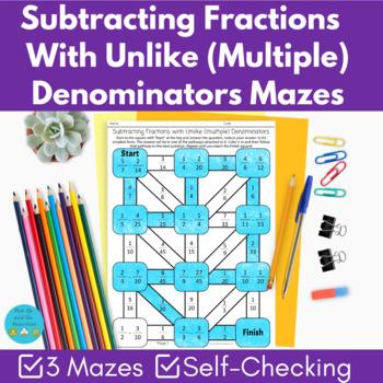 Subtracting fractions with unlike denominators (multiples) maze