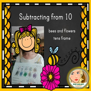 Subtracting from 10 using a Tens Frame: Bees and Flowers -