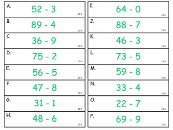 Subtracting from a Two-Digit Number - First Grade enVision Math