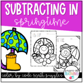 Subtracting in Springtime Color by Number