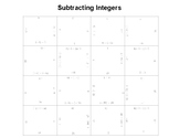 Subtracting Integers Square Puzzle Activity