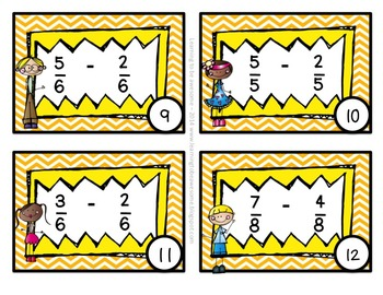 Subtracting like fractions - 40 task cards