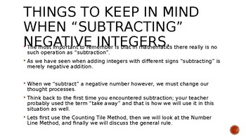 Subtracting negative integers