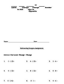 Subtraction of Integers Notes and Assignments