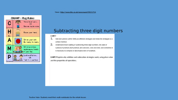 Subtracting three digit numbers using a variety of strategies Powerpoint