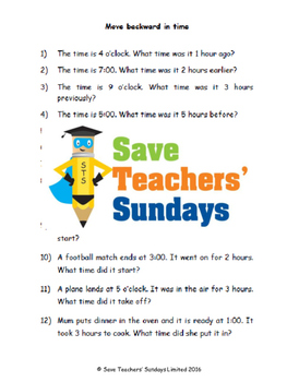 Subtracting time lesson plans, worksheets and more