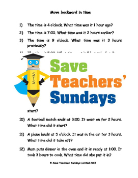 Subtracting time worksheets (4 levels of difficulty)
