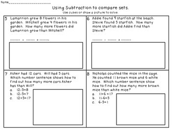 "Subtracting to Compare Numbers Freebie (Finding out ""How Many More?"")"