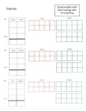 Subtraction-two and three digit worksheets with tens frames
