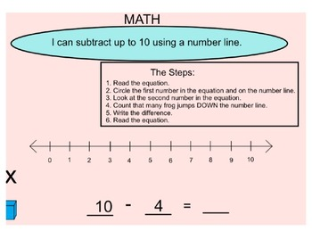 Subtracting up to 10 Using a Number Line
