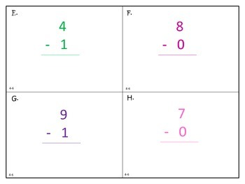 Subtracting with 0, 1, and 2 - First Grade enVision Math