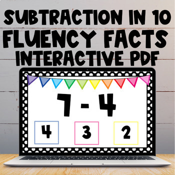 Subtracting with 10 Interactive PDF