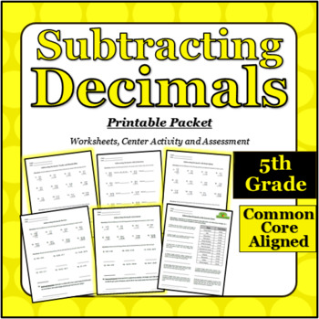 Subtracting with Decimals - Printable Packet