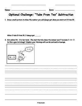 Take from Ten Subtraction with Number Bonds for Singapore Math and Eureka Math