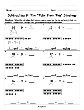 Take from Ten Subtraction with Number Bonds for Singapore