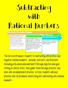 Subtracting with Rational Numbers (Common Core Version)