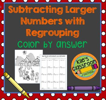Subtracting with Regrouping Color By Answer