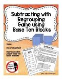 Subtracting with Regrouping Game Using Base Ten Block Pictures