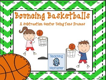 Subtracting with Tens Frames Math Center--Bouncing Basketballs