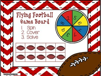 Subtracting with Tens Frames Math Center--Flying Footballs