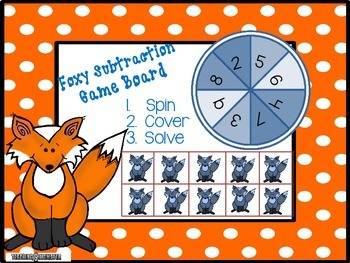 Subtracting with Tens Frames Math Center--Foxy Subtraction