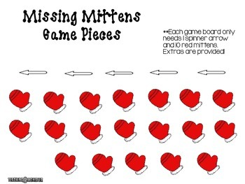 Subtracting with Tens Frames Math Center--Missing Mittens