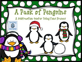 Subtracting with Tens Frames Math Center--Pack of Penguins