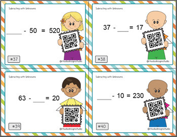 Subtracting with Unknown Missing Numbers QR Self Check Scoot Task Cards