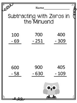 Subtracting with Zeros in the Minuend Worksheets. Borrowing.  Math Center.