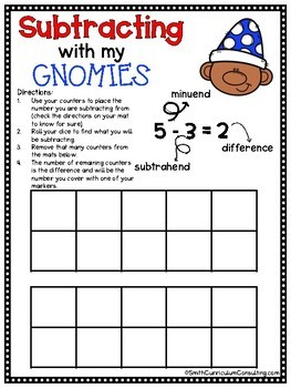 Subtracting with my Gnomies- Subtraction to 20 Games for Math Workshop