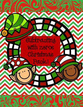Subtracting with zeros Christmas pack